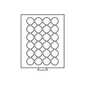 Médaillier 24 compartiments circulaires pour 35 mm  Ø, teinte fumée
