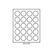 Møntboks - Røgfarvet - 24 runde inddelinger med 41  mm Ø