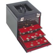 Valisette Numismatique noir, simili cuir pour 10 Médailliers