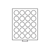 Médaillier 20 compartiments circulaires de 38 mm Ø, gris
