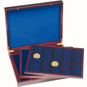Presentation Case VOLTERRA TRIO de Luxe, each with  20square divisions for coins up to 48mm