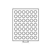 Møntboks - Røgfarvet - 42 runde inddelinger med 29  mm Ø