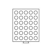 Médaillier 30 compartiments circulaires de 34 mm Ø, teinte fumée