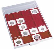 Médaillier 35 compartiments circulaires de 30 mm Ø, gris