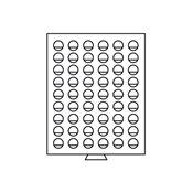 Møntboks - Røgfarvet - 54 runde inddelinger med 26,75 mm Ø