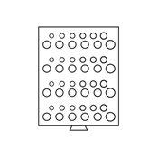 Møntboks - Grå - 48 runde inddelinger 16,5-29 mm Ø