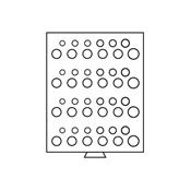 Médaillier 48 compartiments 16,5 à 29 mm, gris