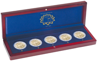 Small coin box VOLTERRA, 5x2-Euro comm. coins *Treaty of Rome* in capsules