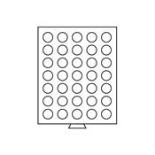 Médaillier 35 compartiments circulaires de 31 mm Ø, gris