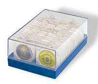 Plastic box for 100 coin Holders, blue
