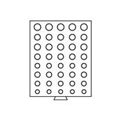 Møntboks EURO - Rund - 40 inddelinger med diverse Ø