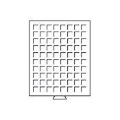 Møntboks - Røgfarvet - 80 kvadratiske inddelinger indtil 24 mm Ø