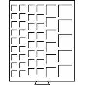 Møntboks - Røgfarvet - 45 kvadratiske inddelinger med diverse Ø