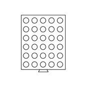 Møntboks - Røgfarvet - 30 runde inddelinger med 33  mm Ø