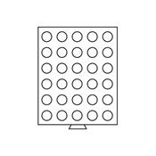 Médaillier 30 compartiments circulaires de 33 mm Ø, teinte fumée