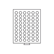 Médaillier 54 compartiments circulaires de 24,5 mm  Ø, teinte fumée