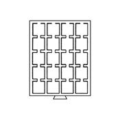 Bandeja para monedas 20 divisiones esquinadas 50 x  50 mm, gris