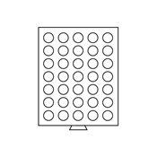 Møntboks - Røgfarvet - 35 runde inddelinger med 31  mm Ø