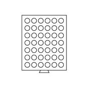 Médaillier 42 compartiments circulaires de 29 mm Ø, gris