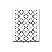 Møntboks til møntkapsler - Røgfarvet - 35 inddelinger til CAPS28 & CAPS27