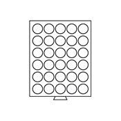 Møntboks - Røgfarvet - 30 runde inddelinger med 39  mm Ø