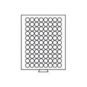 Møntboks - Røgfarvet - 88 runde inddelinger med 21,5 mm Ø