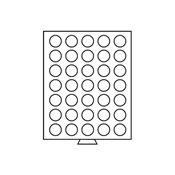 Møntboks - Røgfarvet - 35 runde inddelinger med 32,5 mm Ø