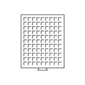Møntboks - Røgfarvet - 99 kvadratiske inddelinger indtil 19 mm Ø