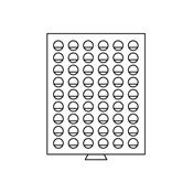 Médaillier 54 compartiments circulaires de 26 mm Ø, gris