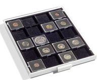 Bandeja para monedas 20 divisiones esquinadas 50 x  50 mm, color gris, con bandeja negra