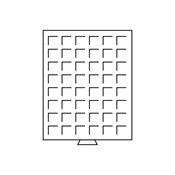 Møntboks - Røgfarvet - 48 kvadratiske inddelinger indtil 28 mm Ø