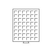 Médaillier 48 compartiments carrés jusqu'à 28 mm Ø, teinte fumée