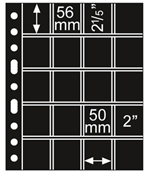 plastic pockets GRANDE, with 20 pockets, 50x56 mm,  black, 5 pcs