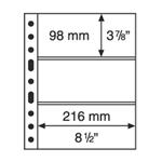 Pochettes plastiques GRANDE, 3 bandes horizontales  transp., de Leuchtturm
