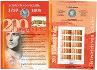 Alemania - Tarjeta de monedas - Friedrich von Schiller