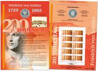 Allemagne - Carte numismatique - Friedrich von Schiller - PNC