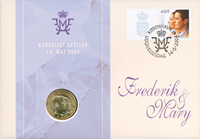 Bryllupsmøntbrev 2004- Kronprins Frederik og Kronprinsesse Mary