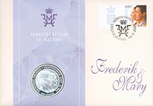 Bryllupsmøntbrev - Kronprins Frederik og Mary Donaldson med 200,- kr. mønt
