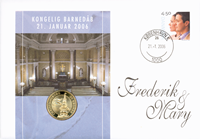 Danmark - Dåbsmøntbrev - Prins Christian Valdemar Henri John