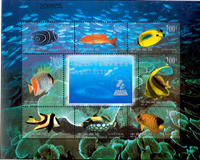 China - Coral reef - Mint souvenir sheet