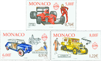 Monaco - Veteranbiler - Postfrisk sæt 3v