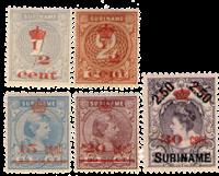 Nederland - Hulpuitgifte 1911 overdruk in rood (nr. 60-64, ongebruikt)