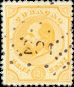 Nederland - 12 1/2 ct geel Willem III (nr. 5, gebruikt)