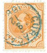 Nederland - 25 ct oranjebruin Willem III (nr. 7, gebruikt)