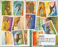 Kazakhstan 2 BF diff. et 10 timbres diff.