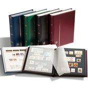 Stockbook - assorted colors - Size A4 - 64 black pages - Padded leatherette