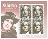 Suède - Greta Garbo - Bloc-feuillet neuf