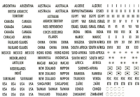 Selvklæbende landeetiketter - Amerika, Australien,  Asien, Afrika