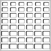 Plateaux L avec 48 cases carrées pour 6 Séries de pièces d'Euros, bleu