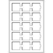 Bandeja L con 15 divisiones para cartones de monedas, hasta 50x50 mm, azul